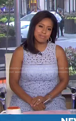 Sheinelle's blue sleeveless lace dress on Today