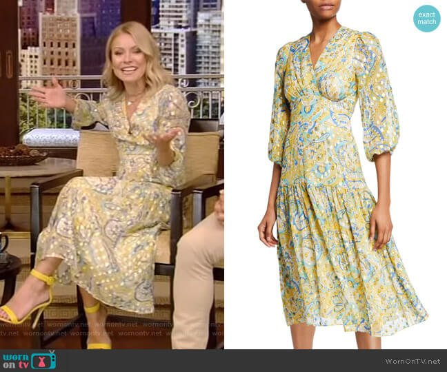 Aceline Dress by Shoshanna worn by Kelly Ripa  on Live with Kelly & Ryan