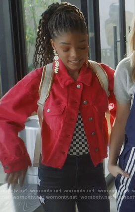 Skylar's red corduroy jacket on Grown-ish