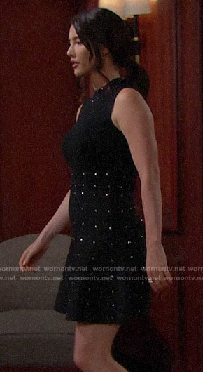 Steffy's black studded dress on The Bold and the Beautiful