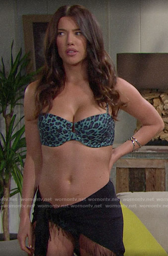 Steffy's teal leopard print bikini on The Bold and the Beautiful