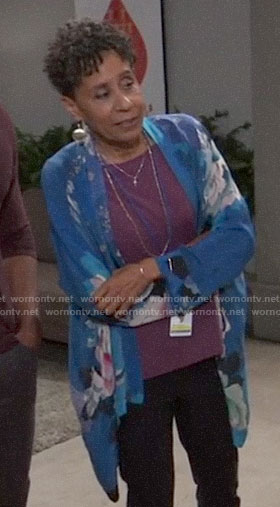 Stella's blue floral kimono on General Hospital