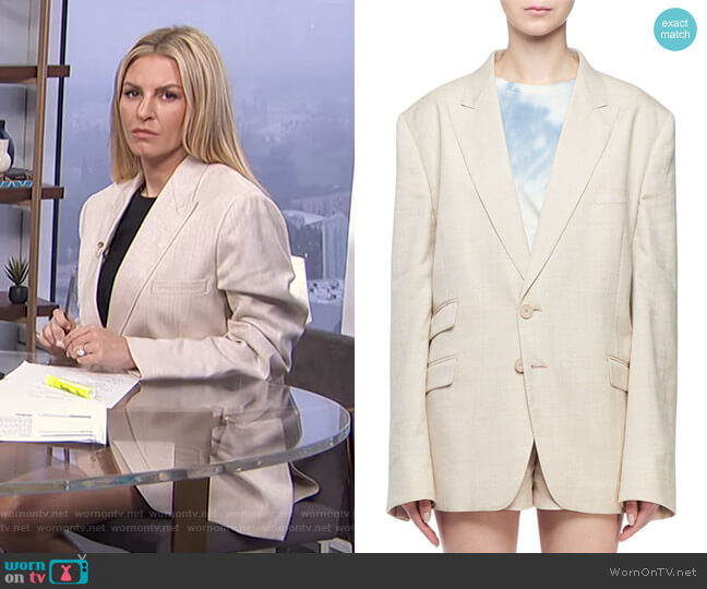 Linen Boyfriend Blazer Jacket by Stella McCartney worn by Morgan Stewart  on E! News