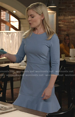 Stephanie's blue three quarter sleeve dress on Good Witch