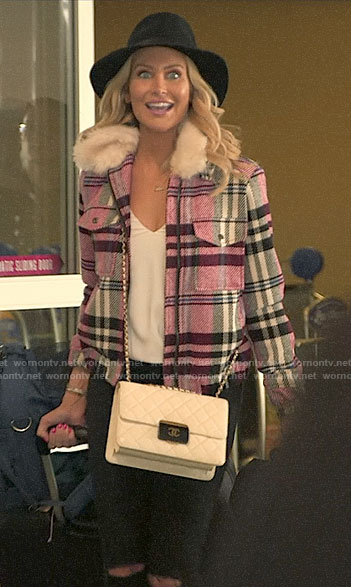 Stephanie's pink plaid jacket with fur collar on The Hills New Beginnings