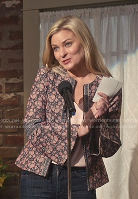 Stephanie's floral embroidered peplum jacket on Good Witch