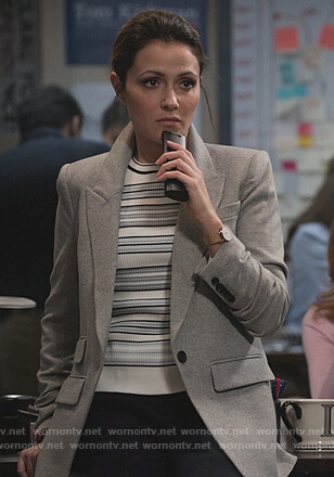 Emily's white striped sweater and blazer on Designated Survivor