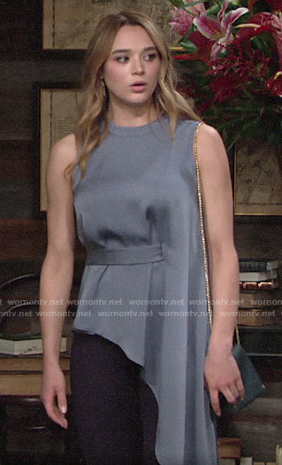 Summer's blue asymmetric draped top on The Young and the Restless