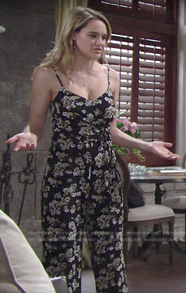 Summer's floral jumpsuit on The Young and the Restless
