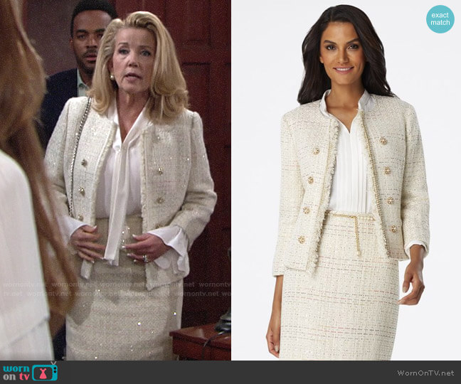 Tahari ASL Fringe-Trim Blazer & Boucle Skirt worn by Nikki Reed Newman (Melody Thomas-Scott) on The Young & the Restless