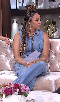 Tamera's denim jumpsuit on The Real