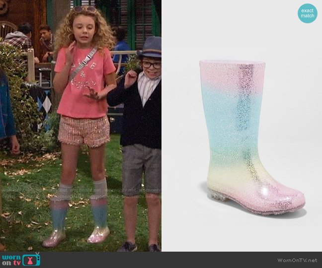 Target Cat & Jack Evelyn Glitter Rain Boots worn by Destiny Baker (Mallory James Mahoney) on Bunkd