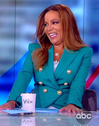 Sunny's teal double breasted blazer on The View