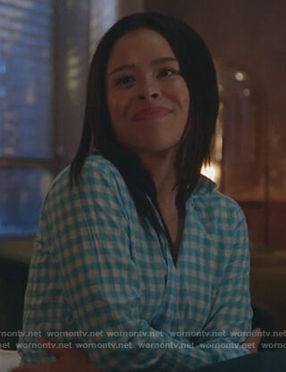 Mariana's blue gingham check shirt on Good Trouble