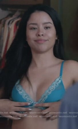 Mariana's turquoise bra on Good Trouble