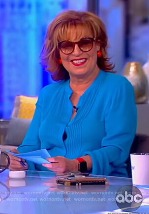 Joy's blue pleated front blouse on The View