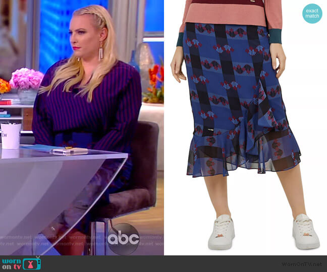 Colour By Numbers Kortez Robot-Print Skirt by Ted Baker worn by Meghan McCain  on The View