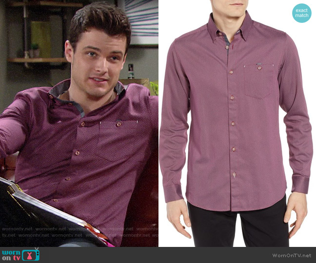 Ted Baker Newyers Geo Shirt worn by Kyle Abbott (Michael Mealor) on The Young & the Restless