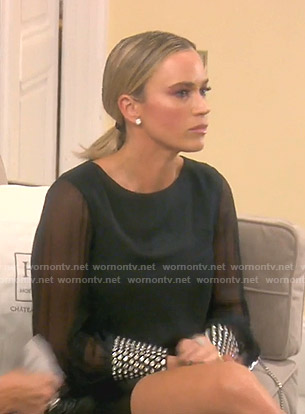 Teddi's black embellished cuff top on The Real Housewives of Beverly Hills