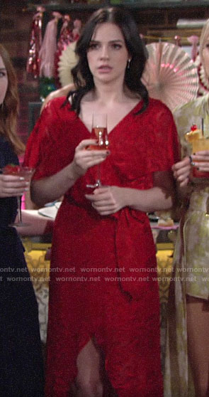 Tessa's red dress at Lola's bridal shower on The Young and the Restless