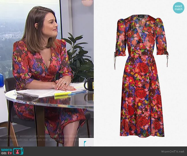 Floral-Print Silk Dress by The Kooples worn by Carissa Loethen Culiner  on E! News