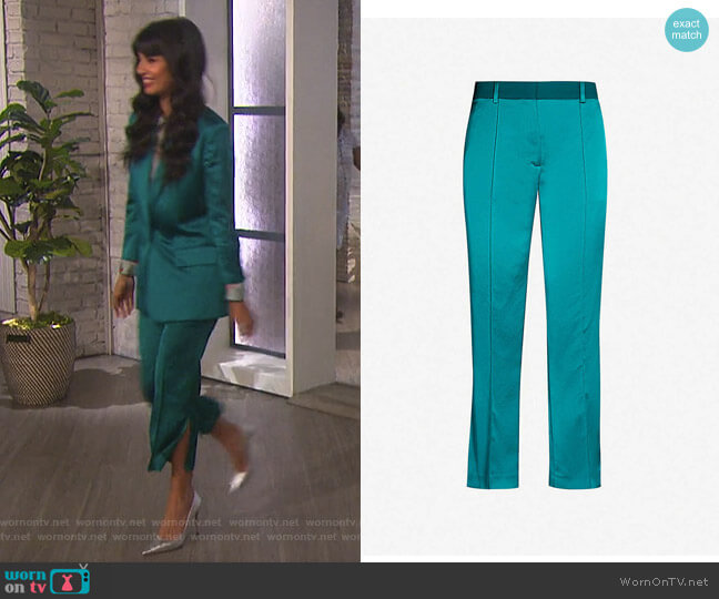 High-Rise Slit-Detail Satin Trousers by The Kooples by Jameela Jamil on The Talk