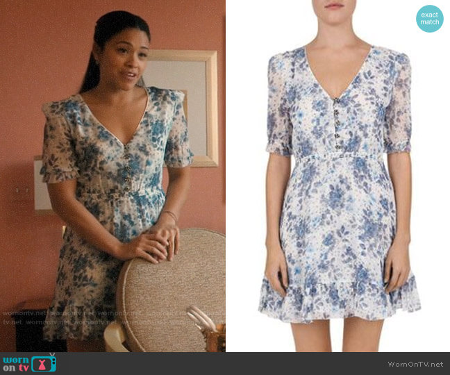The Kooples Jazz Floral Silk Dress worn by Jane Villanueva (Gina Rodriguez) on Jane the Virgin