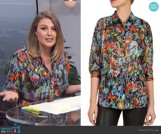 Metallic Floral Blouse by The Kooples worn by Carissa Loethen Culiner  on E! News