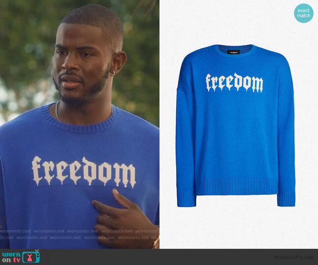 Freedom print Jumper by The Kooples worn by Aaron Jackson (Trevor Jackson) on Grown-ish