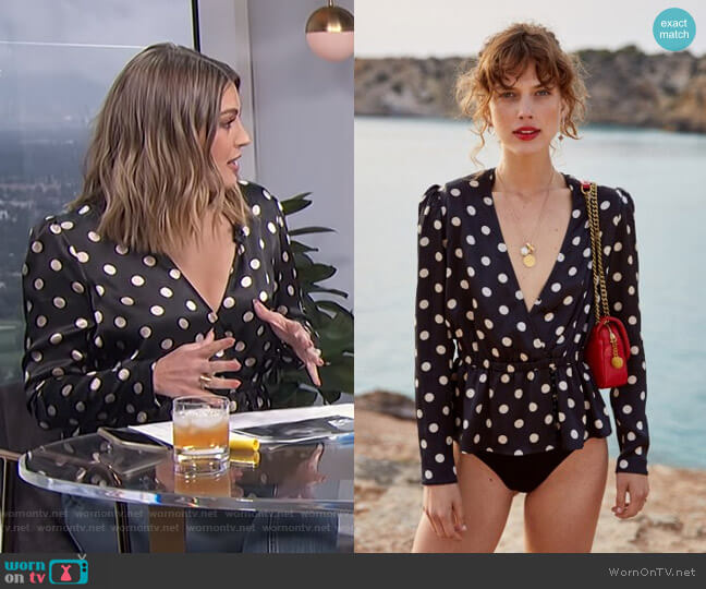 Polka Dot Top by The Kooples worn by Carissa Loethen Culiner  on E! News