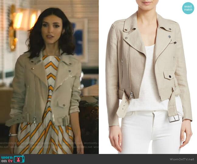 Shrunken Moto Jacket by Theory worn by Alicia Mendoza (Denyse Tontz) on Grand Hotel