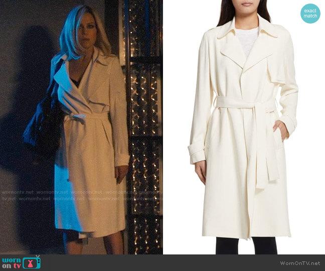 Theory Oaklane Rosina Crepe Trench Coat worn by Daisy Kowalski (Carla Gugino) on Jett