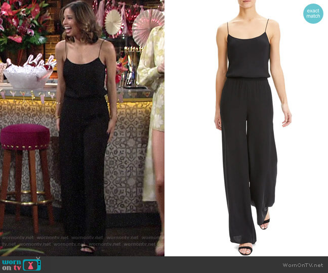 Theory Spaghetti Strap Jumpsuit worn by Elena Dawson (Brytni Sarpy) on The Young & the Restless
