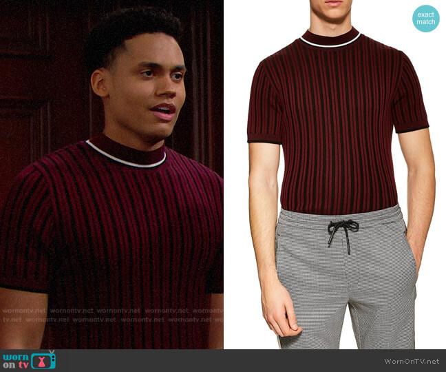 Topman Short Sleeve Sweater worn by Xander Avant (Adain Bradley) on The Bold & the Beautiful