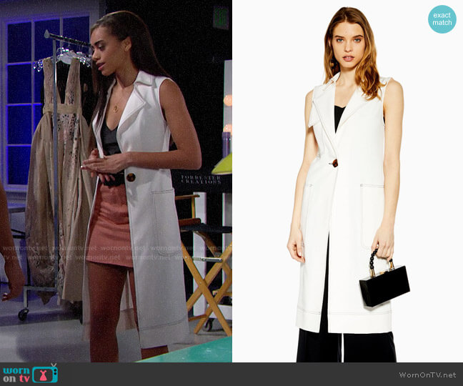 Topshop Utility Sleeveless Duster Coat worn by Zoe (Kiara Barnes) on The Bold & the Beautiful