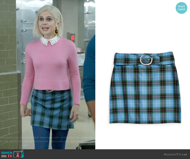 Topshop Circle Buckle Check Miniskirt worn by Liv Moore (Rose McIver) on iZombie