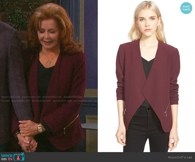 Trouve Open Front Zip Pocket Blazer worn by Maggie Horton (Suzanne Rogers) on Days of our Lives