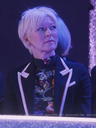 Joanna Coles' navy trim blazer on The Bold Type