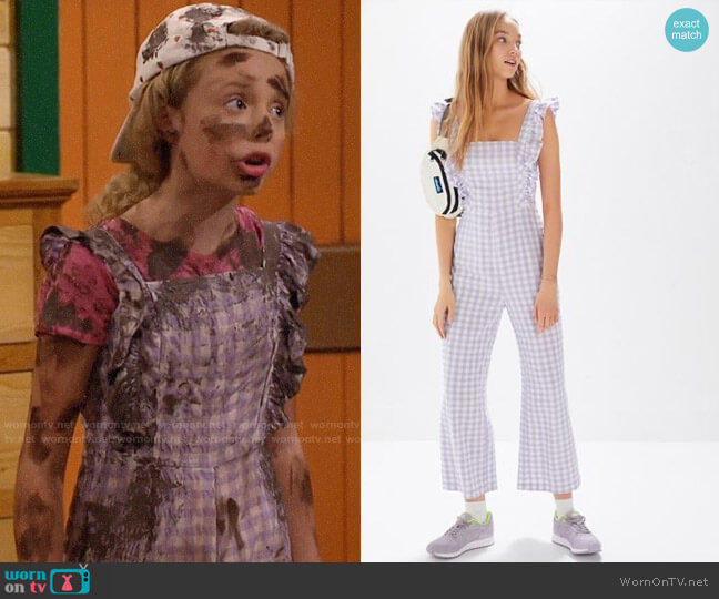 UO Emerson Gingham Ruffle Jumpsuit worn by Destiny Baker (Mallory James Mahoney) on Bunkd