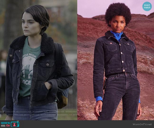 Cord & Borg Shrunken Western Jacket by BDG at Urban Outfitters worn by Elodie Davis (Brianna Hildebrand) on Trinkets