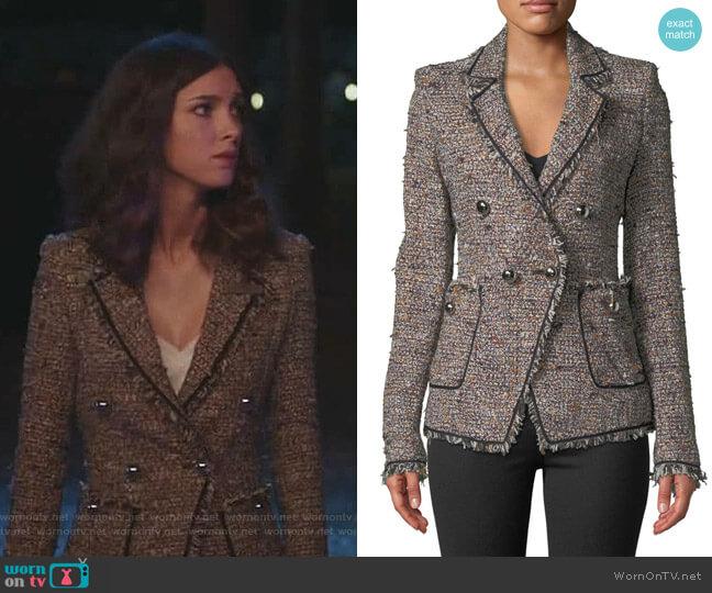 Theron Tweed Jacket by Veronica Beard worn by Alicia Mendoza (Denyse Tontz) on Grand Hotel