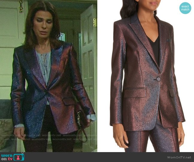 Veronica Beard Ashburn Metallic Blazer worn by Hope Williams (Kristian Alfonso) on Days of our Lives