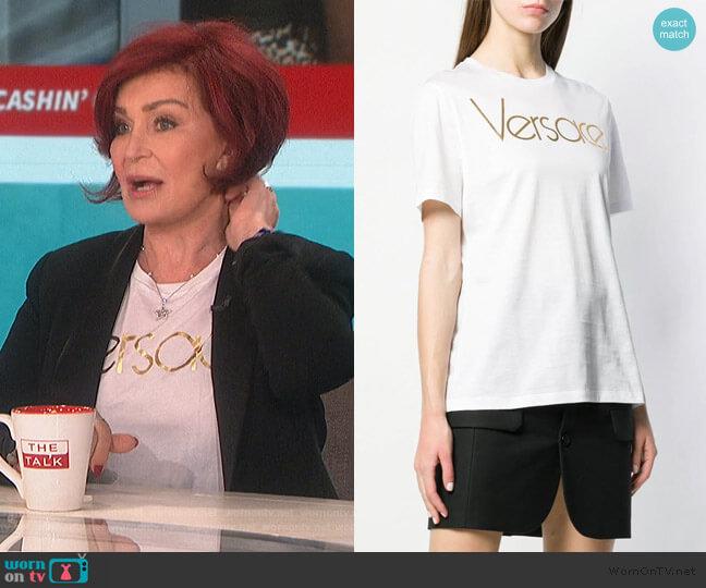 Metallic Logo T-shirt by Versace worn by Sharon Osbourne  on The Talk