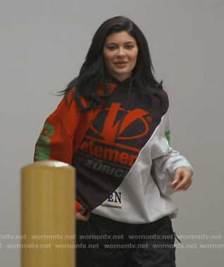 Kylie's mixed print hoodie on Keeping Up with the Kardashians