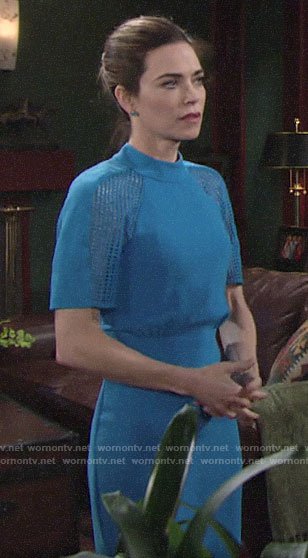 Victoria's blue mesh sleeve dress on The Young and the Restless
