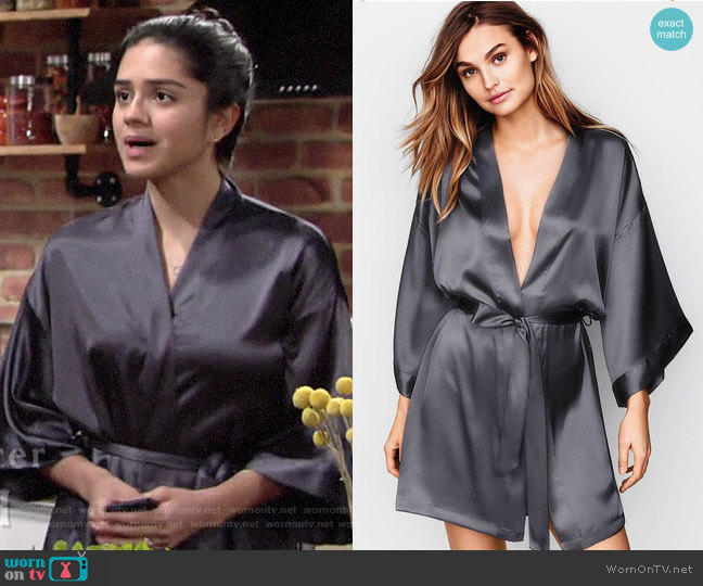 Victorias Secret Short Satin Robe worn by Lola Rosales (Sasha Calle) on The Young & the Restless