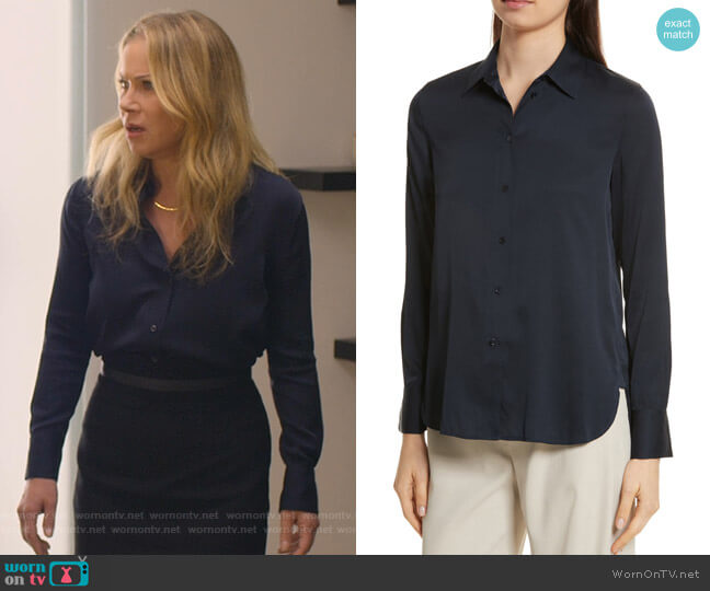 Slim Silk Blouse by Vince worn by Jen Harding (Christina Applegate) on Dead to Me
