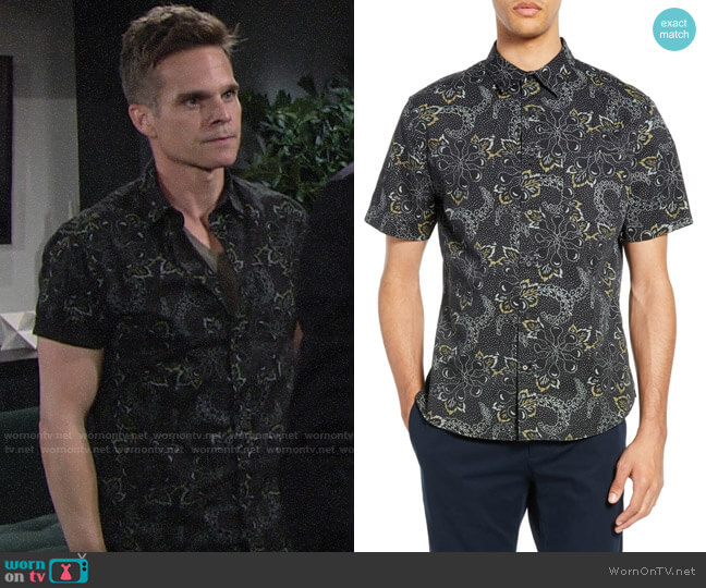 Vince Floral Slim Fit Sport Shirt worn by Kevin Fisher (Greg Rikaart) on The Young & the Restless