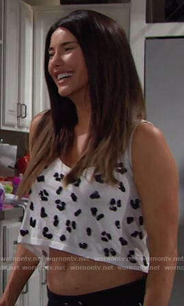 Steffy's white embellished cropped top on The Bold and the Beautiful