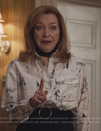 Lorraine's white sketch print blouse on Designated Survivor
